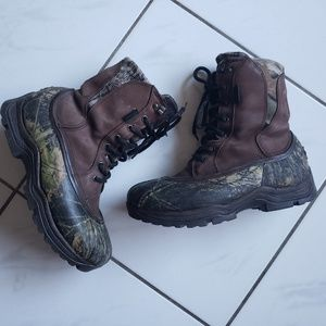 Mens lacrosse hunting camo boots water leather